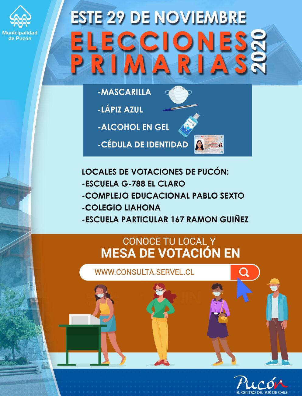 Infórmese sobre cuáles serán los nuevos locales de votación para estas primarias del 29 en Pucón