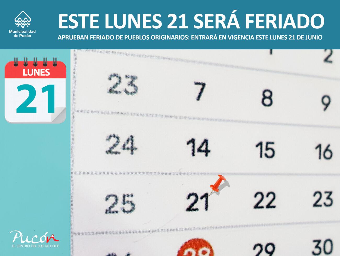 Lunes 21 de junio: Feriado por el día de los Pueblos Originarios